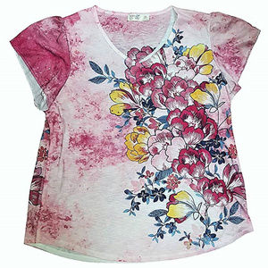 TERRA & SKY V NECK SUBLIME FLORAL RUFFLE Tee top